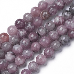 Natural Lepidolite/Purple Mica Beads Strands US-G-G770-04A-8mm