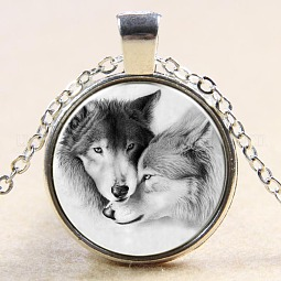 Wolf Pattern Flat Round Glass Pendant Necklaces US-NJEW-N0051-013S-02