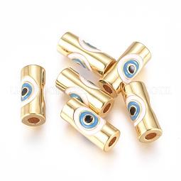 Brass Enamel Beads US-KK-L189-20G