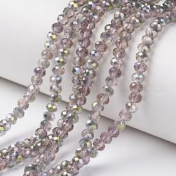 Electroplate Transparent Glass Beads Strands US-EGLA-A034-T8mm-S19