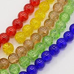Crackle Glass Beads Strands US-CCG-Q001-6mm-M