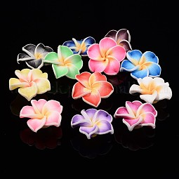 Handmade Polymer Clay 3D Flower Plumeria Beads US-CLAY-Q192-15mm-M