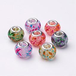Spray Painted Glass European Beads US-GPDL-R005-M1