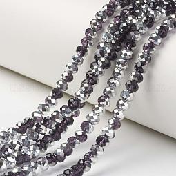 Electroplate Transparent Glass Beads Strands US-EGLA-A034-T10mm-M11