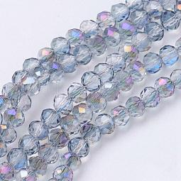 Electroplate Glass Faceted Rondelle Beads Strands US-EGLA-D020-4x3mm-18