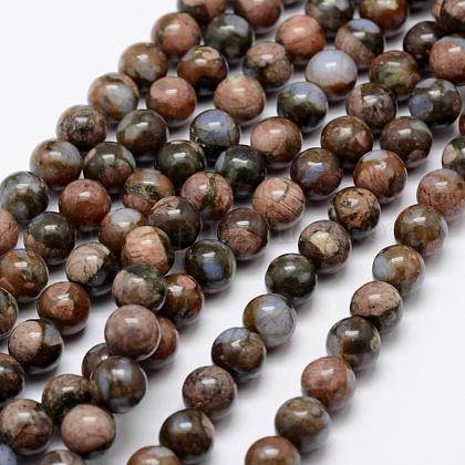Natural African Blue Opal Beads StrandsUS-G-K209-04A-6mm-1