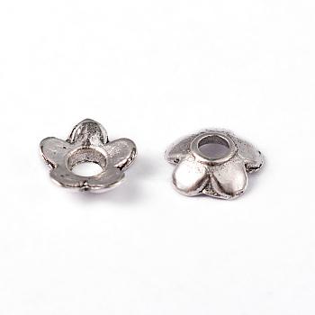 Tibetan Style Bead Caps, Cadmium Free & Lead Free, Antique Silver, 6.5X6.5X2mm, Hole: 2mm