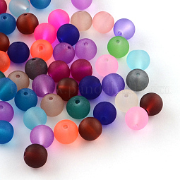 Transparent Frosted Glass Beads US-FGLA-R001-4mm-M