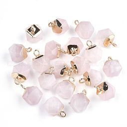 Electroplate Natural Rose Quartz Charms US-X-G-S344-08H