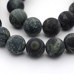Frosted Natural Kambaba Jasper Beads Strands US-G-M272-13-8mm