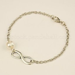 Fashion Tibetan Style Infinity Link Bracelets US-BJEW-JB01041-01