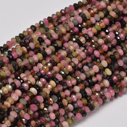 Faceted Rondelle Natural Tourmaline Bead StrandsUS-G-F269-44-1