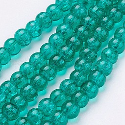 Spray Painted Crackle Glass Beads Strands US-CCG-Q001-10mm-15