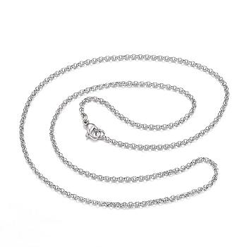 304 Stainless Steel Necklaces, Rolo Chain Necklaces, Stainless Steel Color, 23.62