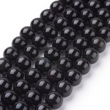 Natural Obsidian Beads StrandsUS-G-G099-12mm-24-1