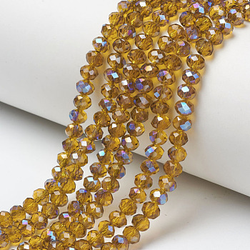 Electroplate Glass Beads Strands, Half Plated, Blue Plated, Faceted, Rondelle, DarkGoldenrod, 6x5mm, Hole: 1mm; about 92~94pcs/strand, 17~17.5