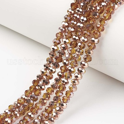 Electroplate Transparent Glass Beads StrandsUS-EGLA-A034-T8mm-N07-1
