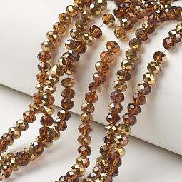 Electroplate Transparent Glass Beads Strands US-EGLA-A034-T8mm-O12