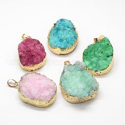 Electroplated Natural & Dyed Druzy Agate Pendants US-G-N0167-023B