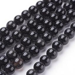 Natural Obsidian Beads Strands US-G-G099-8mm-24
