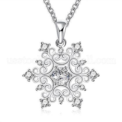 Fashion Popular Brass Cable Chain Snowflake Cubic Zirconia Pendant NecklaceUS-NJEW-BB00231-1