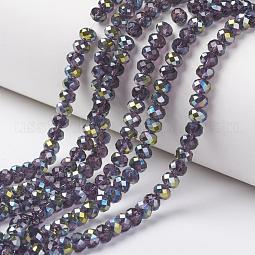 Electroplate Transparent Glass Beads Strands US-EGLA-A034-T10mm-S07
