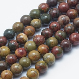 Natural Picasso Stone/Picasso Jasper Beads Strands US-G-K287-11-8mm