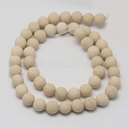 Natural Fossil Beads Strands US-G-D694-6mm