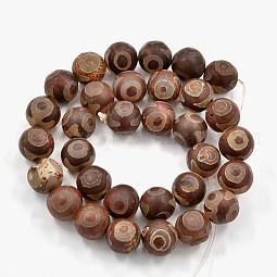 Tibetan Style 3-Eye dZi Beads US-TDZI-F001-10mm-03