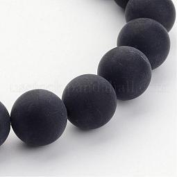 Grade A Natural Black Agate Beads Strands US-G447-6
