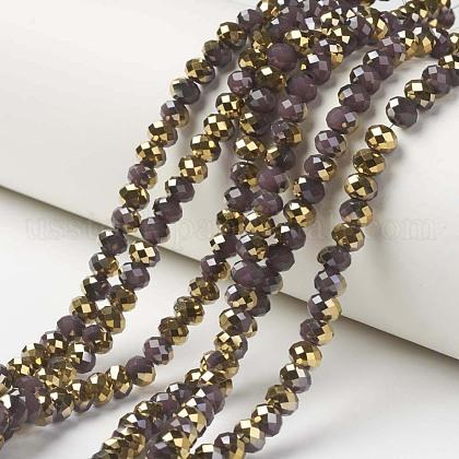Electroplate Glass Beads StrandsUS-EGLA-A034-J6mm-O05-1