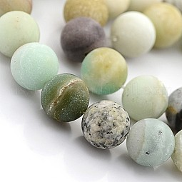 Natural Frosted Flower Amazonite Round Beads US-G-D616-6mm