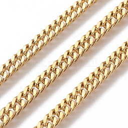 304 Stainless Steel Cuban Link Chains US-CHS-E018-13G